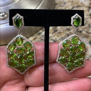 Peridot and CZ Earrings 925 New